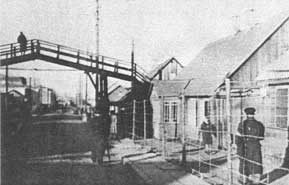 A view of the foot-bridge over Paneriu Street, which connected one part of the Kovno ghetto to another